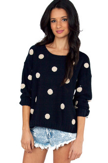 Tobi Penny for Your Dots Sweater in Navy