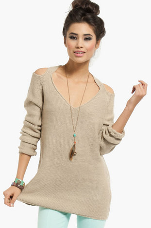 Cold Shoulder Oversized Sweater from tobi.com