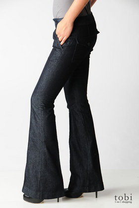 Habitual Harlow Super Flare Jeans in Eventide :  blue designer jean dark denim