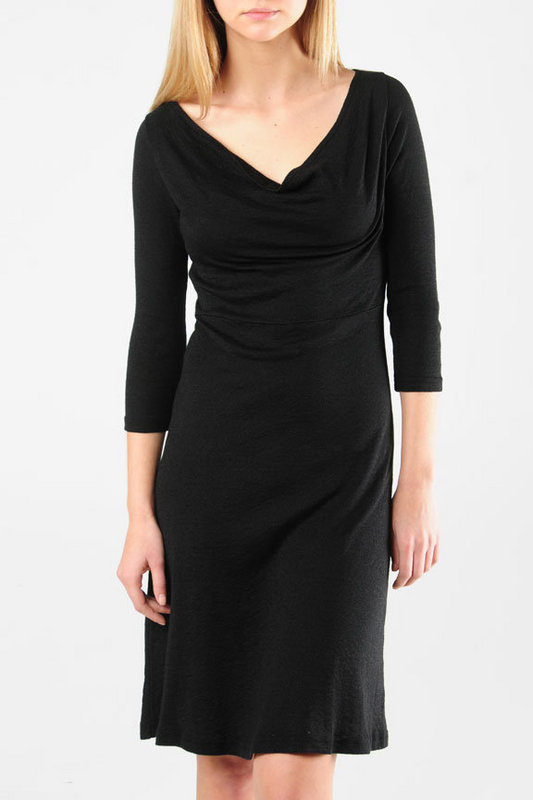 Michael Stars 3/4 Sleeve Drape Neck Shine Dress :: tobi