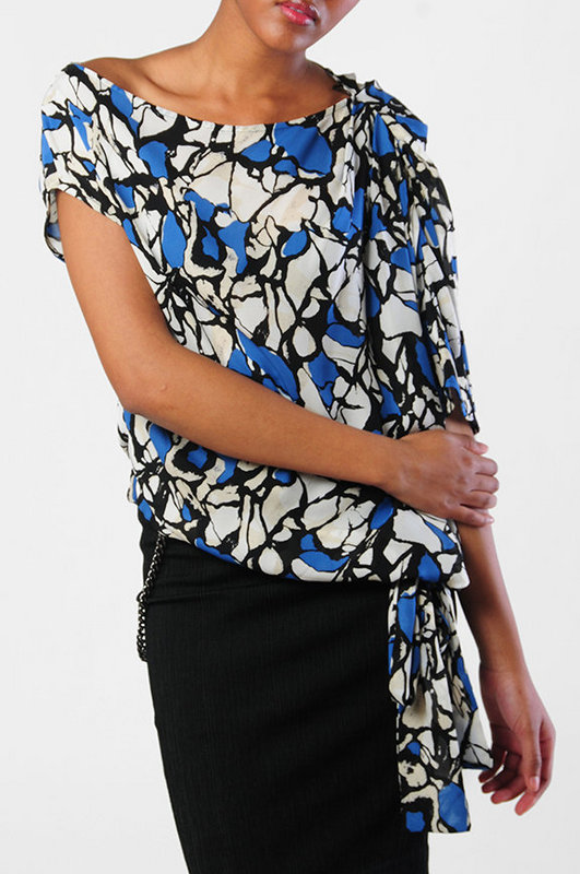 Robert Rodriguez Draped Print Silk Top