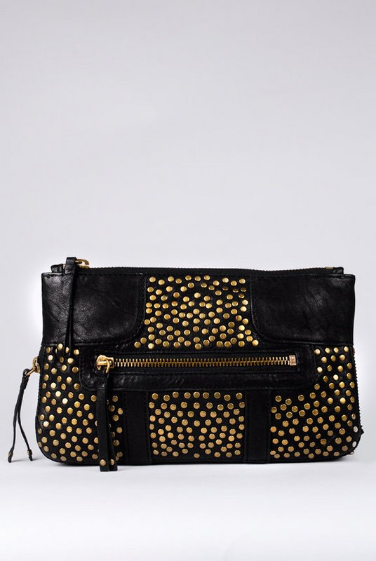 Olivia Harris by Joy Gryson Studded Chain Clutch with Shoulder Strap at Tobi