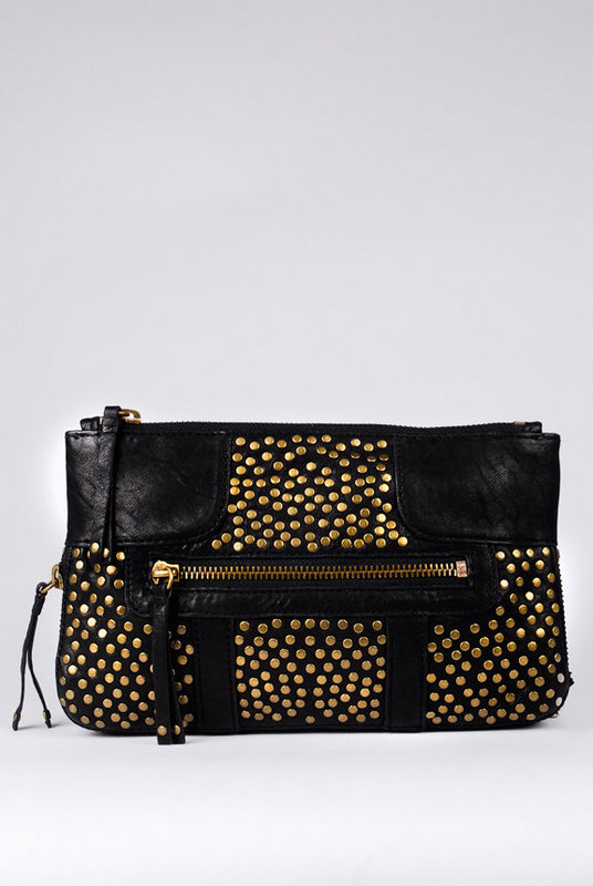 Olivia Harris by Joy Gryson Studded Chain Clutch with Shoulder Strap at Tobi from tobi.com