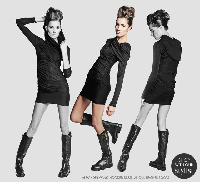 Alexander Wang Hooded Dress :  mini long sleeve dress boots